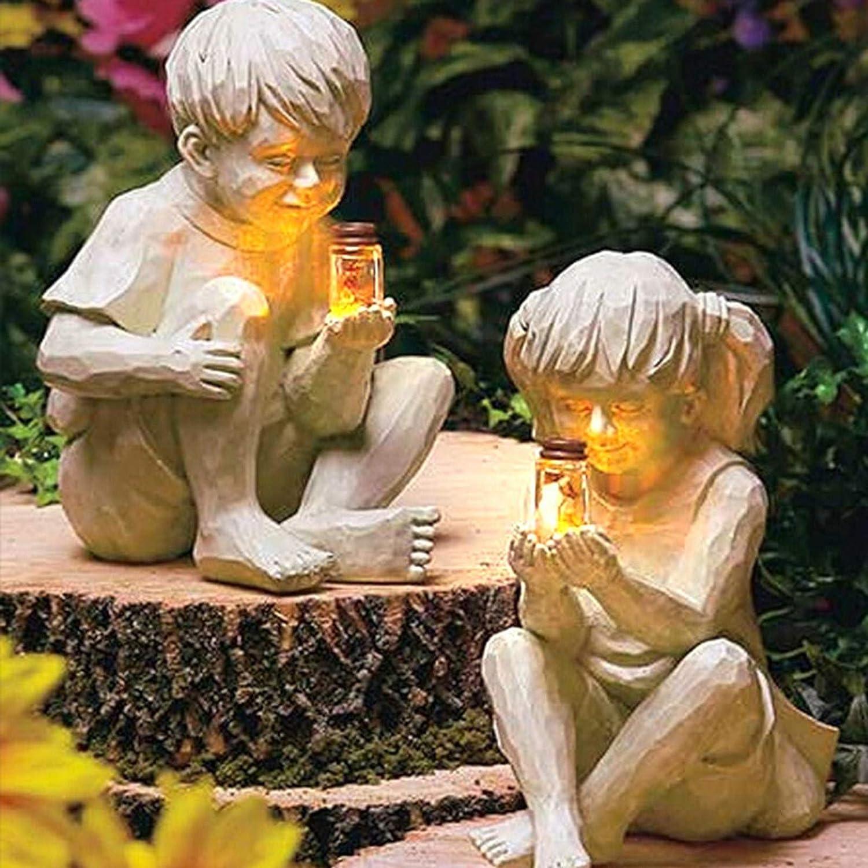 Creative Garden Children Solar Lighted Firefly Jar Boy Girl Statue Yard Outdoor Sculpture Decor - Decorative Statue for Gardens, Kids with Solar Fireflies Garden Statues,Outdoor Sculpture Decor (both)
