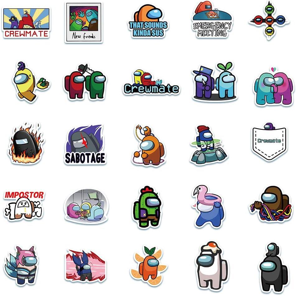 Computer Gep/äck Handy REZAUP 50 x Aufkleber Among Us f/ür Wasserflaschen Laptop