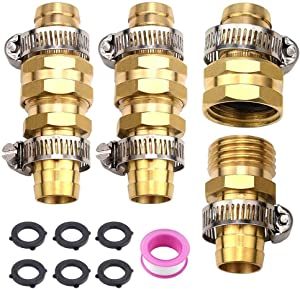LUEXBOX 3/4 Hose Repair Kit, Male Female Hose End Repair, Garden Hose End Replacement Mender Fitting with Stainless Steel Clamp (3 PCS)