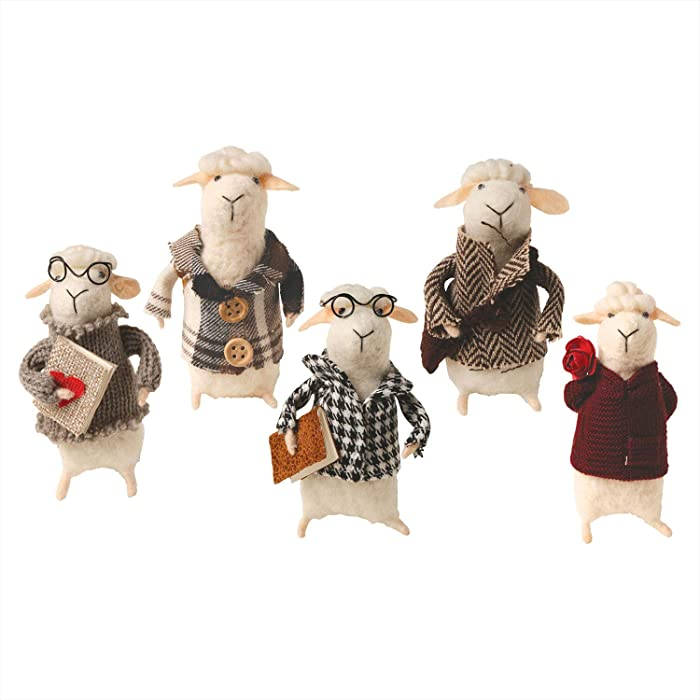 CATALOG CLASSICS Felted Wool Sheep in Clothes Decorative Figurines - Set of 5 Cute Animals