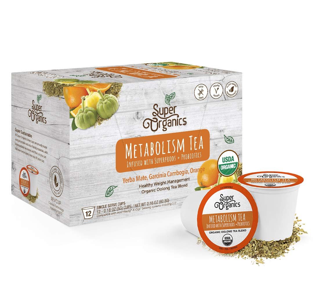 Super Organics Metabolism Oolong Tea Pods With Superfoods & Probiotics | Keurig K-Cup Compatible | Weight & Metabolism, Slim Tea | USDA Certified Organic, Vegan, Non-GMO, Natural & Delicious Tea, 72ct by Super Organics
