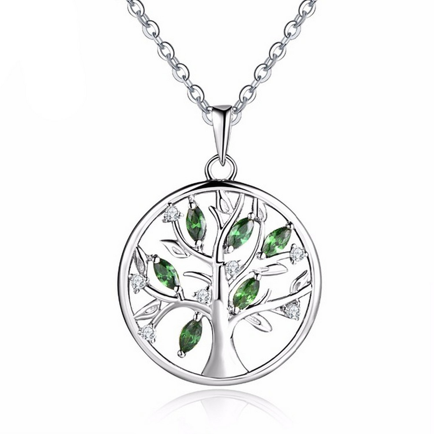 CS-DB Silver Necklaces Created Emerald Chain Charm Pendants