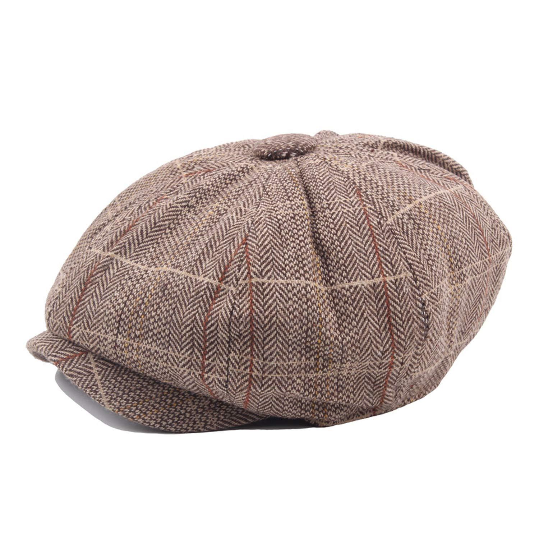 Plaid Octagonal Cap Men Retro Newsboy Caps Peaky Blinders hat Casual Beret Flat Hats Boinas para Hombres