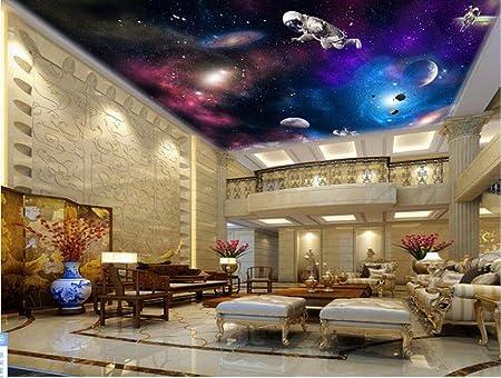 LWCX Custom Wallpaper 3D Ceiling Murals Cosmic Nebula Astronaut