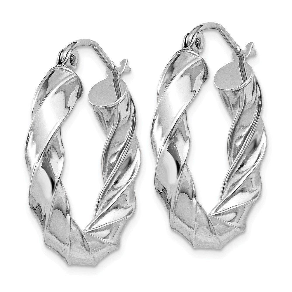 14kt White Gold Light Twisted Hoop Earrings