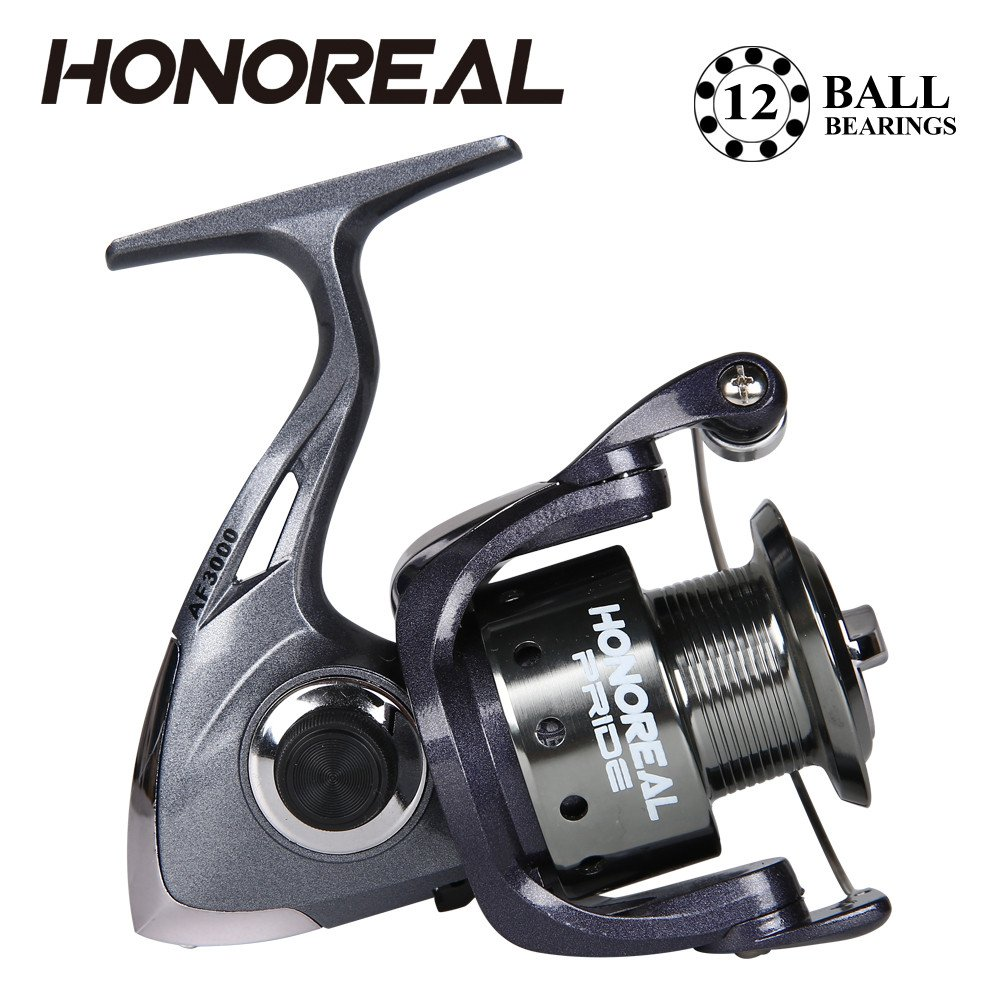 Dressffe HONOREAL Aluminum Body Rotor Ultra Smooth 9+1 BB Spinning Fishing Reel, 12 ball bearing, fixed support