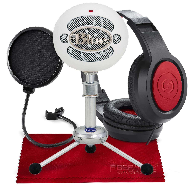Micrófono de condensador USB Blue Snowball (blanco texturizado) con auriculares y paquete de accesorios