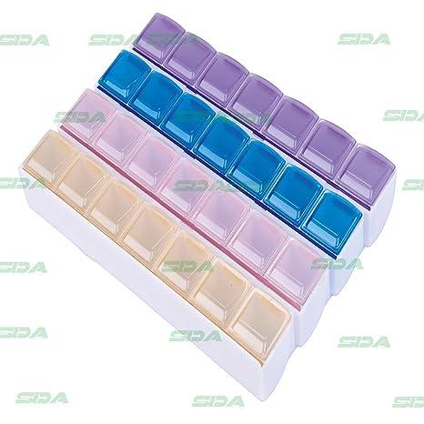 SDA médica píldora caja contenedor – Tablet – Organizador medicina compartimentos de almacenamiento – Soporte para