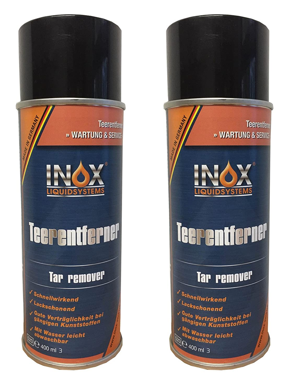 Inox Eliminador de alquitrá n Spray, 2 x 400 ml –  Eliminador de pegamento para coche, caravana y camping carro 2x 400ml-Eliminador de pegamento para coche