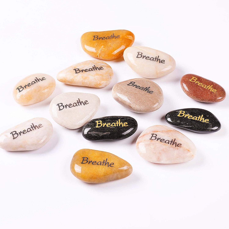"""RockImpact 12 """"Breathe Piedras Grabadas, Piedra de Palabra, Piedra de Afortunada, Rocas Inspiradoras, Piedras de Agradecimiento, Guijarros Decorativos (al por Mayor, Breathe, 5-8 cm Cada uno)"""