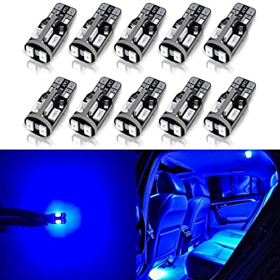 Antline 194 168 2825 T10 W5W Error Free LED Bulb Blue, Super Bright 300 Lumens 10-SMD 5730 Chipset LED Bulbs for Interior Dome Map Door Courtesy License Plate Lights, Pack of 10: Automotive
