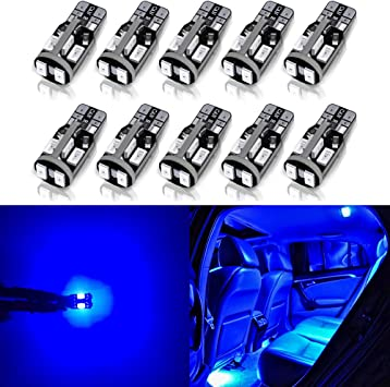 ANTLINE 194 168 2825 W5W T10 LED Bulbs Blue Pack of 10 Ultra Bright Error Free 9-SMD 2835 Chipsets Replacement for Car Interior Dome Map Door Courtesy License Plate Lights