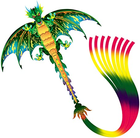 Lamonty Green Dragon Kite - Beautiful andEasy Flyer Kite for Children and Adult with Long Colorful Tail String Line Accessories Easy to Soar High Outdoor Sports Game Activities or Beach Trip