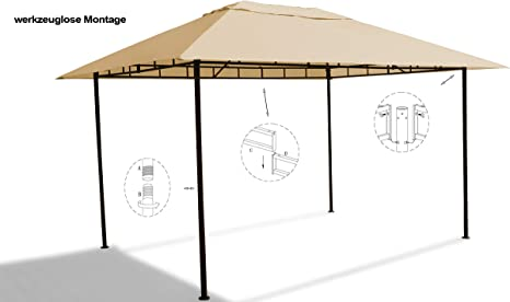 GRASEKAMP Qualität seit 1972 Amalfi Flex - Cenador de 3 x 4 m, Metal, Color Beige: Amazon.es: Jardín