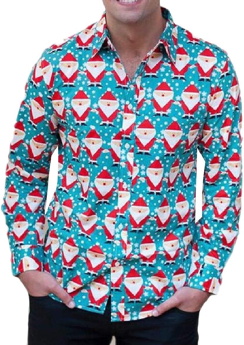 Abetteric Men Cartoon Christmas Printed Shirt Long-Sleeve Holiday Blouse Tops