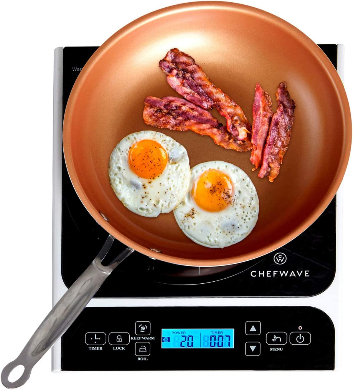 ChefWave CW-IC01 1800W Portable Induction Countertop Burner – Bonus 10 Copper Frying Pan – 20 Power Temp Settings Digital LCD Touch Kitchen Cooktop Electric Cooker – Energy Efficient, Safety Lock