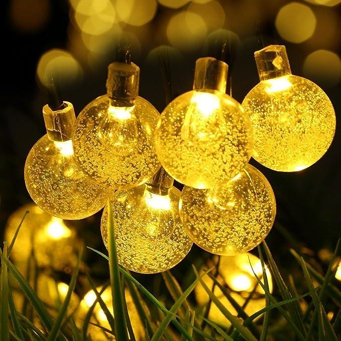 Guirlande Lumineuse Solaire Jardin Extérieur 30 LED 6M Easternstar, Boule de Cristal Intérieur ou extérieur, 2 Modes, Imperméable Pliable, Lampe Solaire, Éclairage Lumineux pour Chambre, Cou