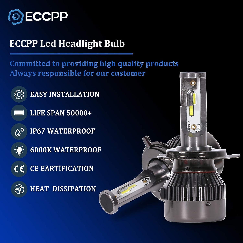 80W 6000K 9600Lm 12xCSP Chips 1 Year Warranty ECCPP H7 LED Headlight Bulb Hi//Lo Beam White Headlamp Conversion Kit Pack of 2