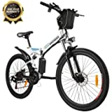 ANCHEER Folding Electric Mountain Bike, 26'' Electric Bike with 36V 8Ah Lithium-Ion Battery, Premium Full Suspension and…