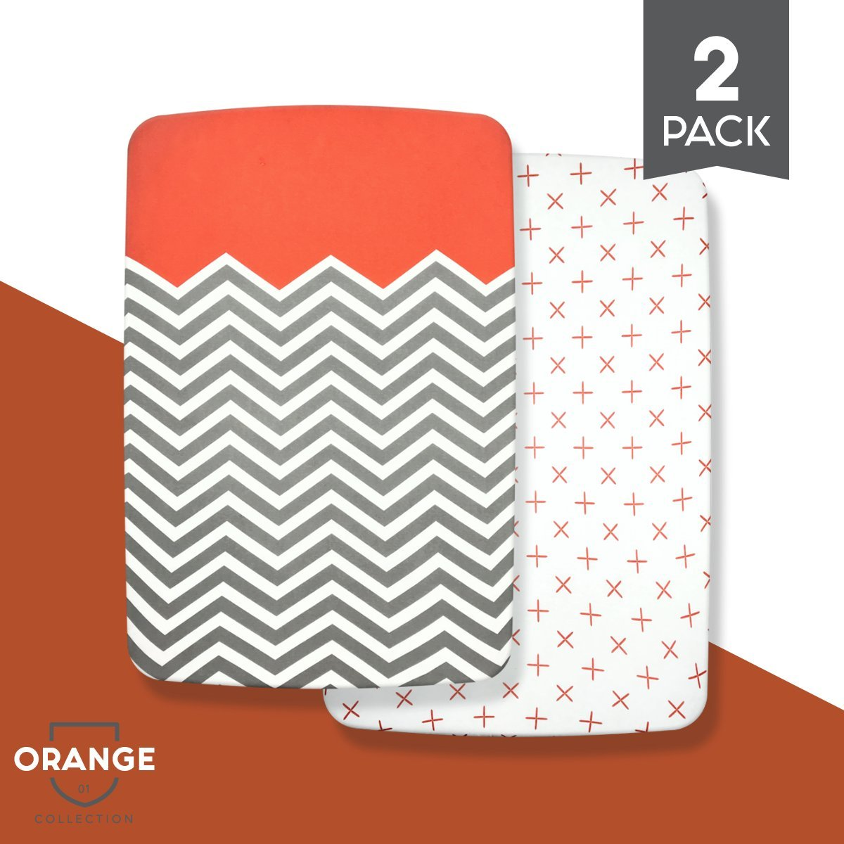 """Organic Cotton Crib Sheet Set: Standard Pack n Play Mattress Sheets (2 Pack) Baby Sheets for Playard, Soft Comfortable Unisex for Infants and Toddlers 39""""x27""""x5""""! (Orange)"""