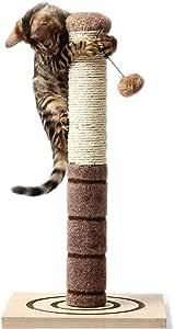 4 Paws Stuff Tall Cat Scratching Post Cat Interactive Toys - Cat Scratch Post Cats Kittens - Plush Sisal Scratch Pole Cat Scratcher - 22 inches (Beige)