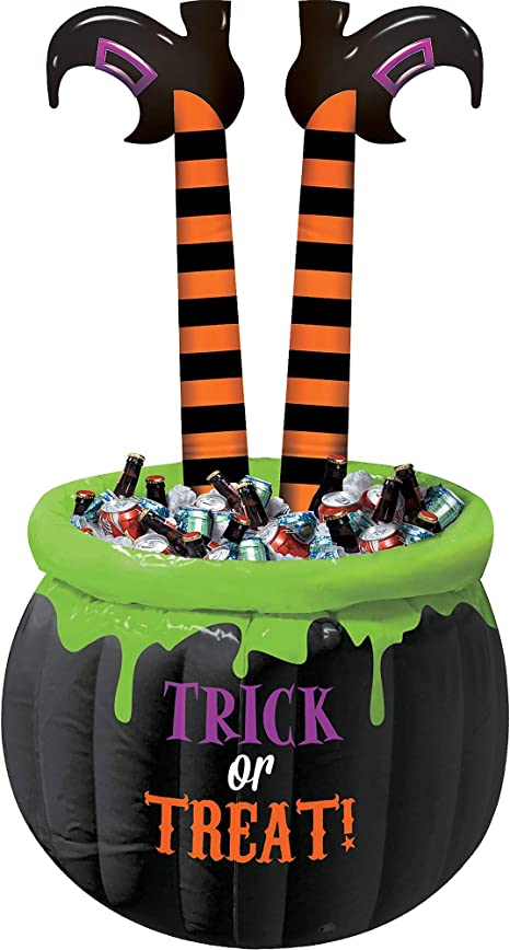 With Legs Sticking Out Inflatable Witch Cauldron Cooler Measure 55 Inches Tall