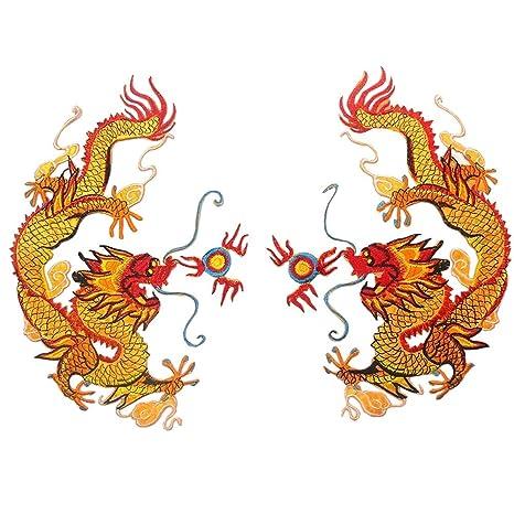 Vpang 1 par de parches bordados de dragón chino para coser o ...