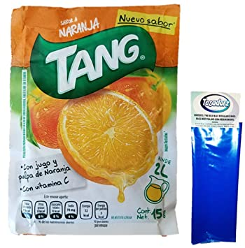 Tang Naranja (Orange) Powdered Drink Mix (Pack of 16) with Tesadorz Resealable