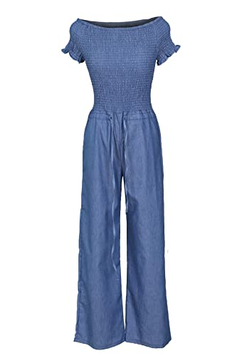 dab0ff5ff Amazon.com: Women Off Shoulder Denim Jumpsuit Ruching Stretch Top Long  Pants Romper with Belt: Clothing