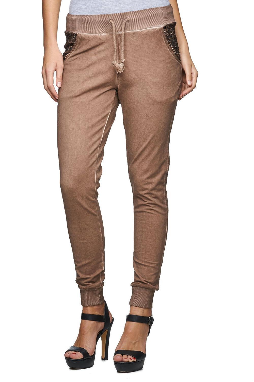 DECAY Jeanswear Fashion - MD772 - Damen Sweathose Jogginghose mit Pailletten