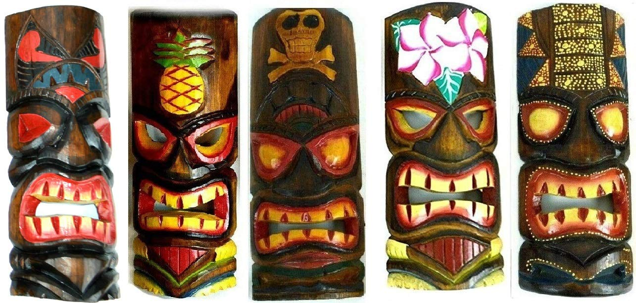 SET OF 5 HAND CARVED POLYNESIAN HAWAIIAN TIKI STYLE MASKS 12 IN TALL turtle pineapple colorful flower parrot by WorldBazzar