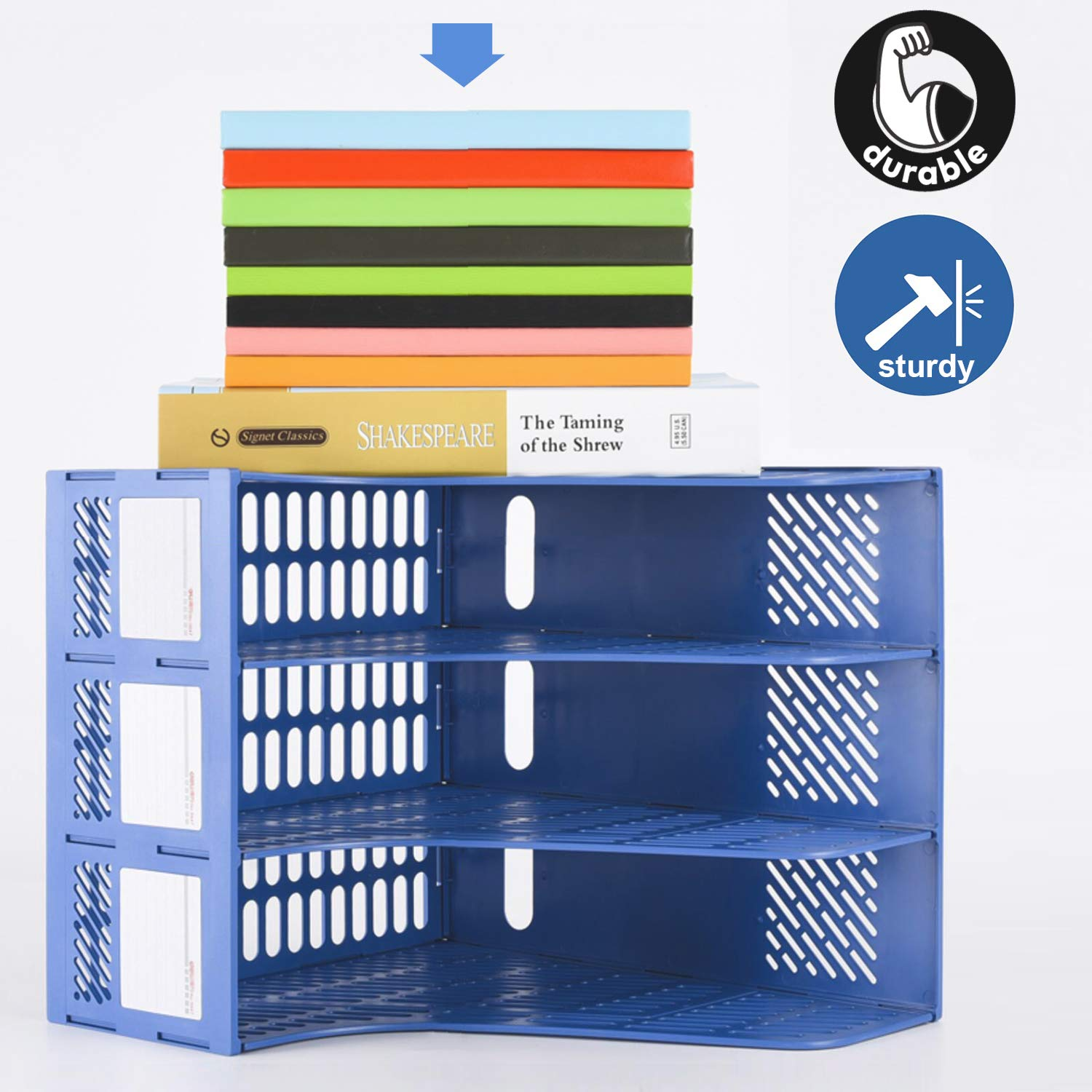 Leven Desk Organizer, Large Space Desktop File Organizer with 3 Vertical Compartments for Office Organization