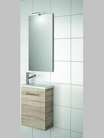 Salgar Badmöbel Set SA99E (40x22cm, Eiche) Gäste WC Komplettlösung Inkl.