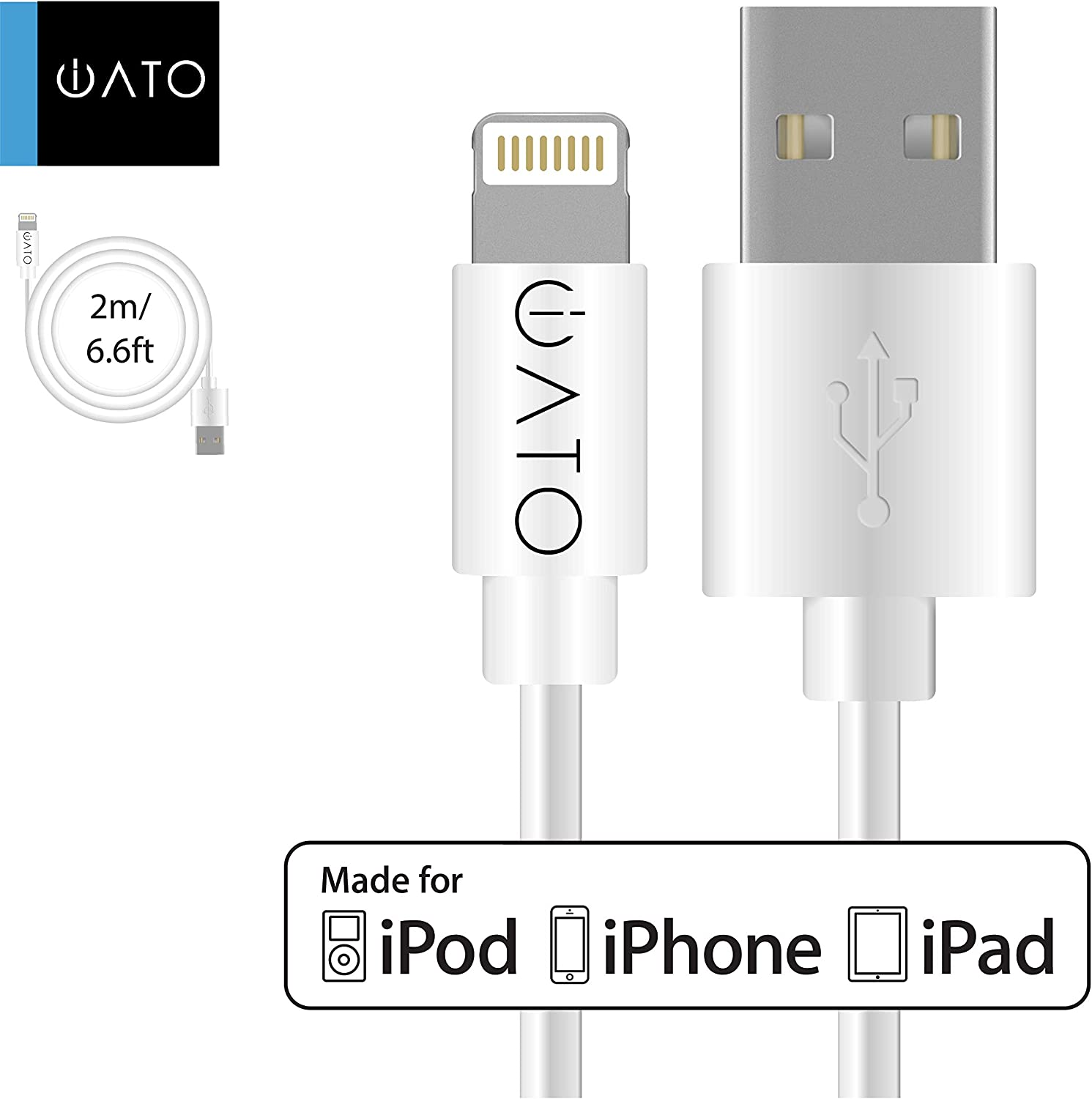 Apple MFi Certified Fast Strong Reliable Charging Lead for iPhone 11 Pro Max XR Xs Max X 10 8 7 6s 6 Plus SE 5s 5c 5 iPad iPod Cord White 24-Months Warranty iATO Lightning to USB Cable 2 Meter