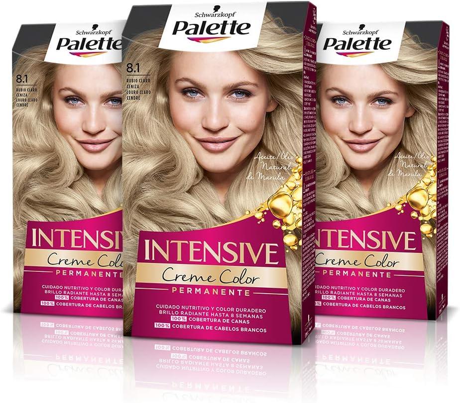 Schwarzkopf Palette Intensive Creme Color – Tono 8.1 cabello Rubio Claro Ceniza (Pack de 3) - Coloración Permanente de Cuidado con Aceite de Marula, ...