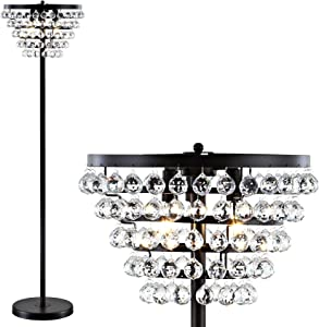 """JONATHAN Y JYL9005A Jemma 60"""" Crystal/Metal LED Floor Lamp, Contemporary, Transitional for Bedroom, Living Room, Bronze"""