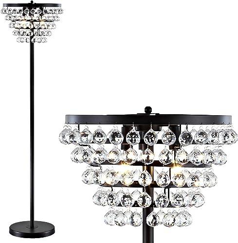 JONATHAN Y JYL9005A Jemma 60″ Crystal/Metal LED Floor Lamp