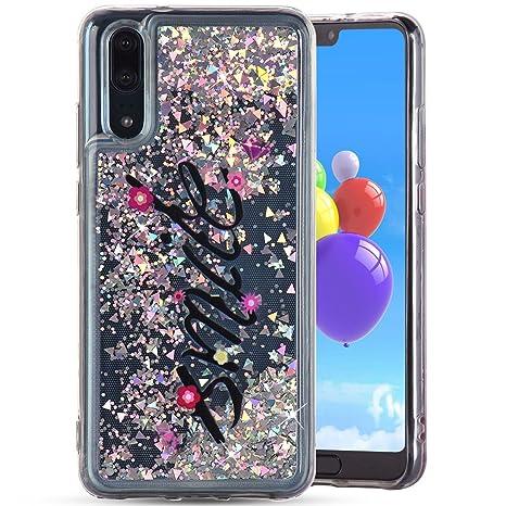 Carcasa Huawei P20, Amcor Love 3d Glitter líquido purpurina ...