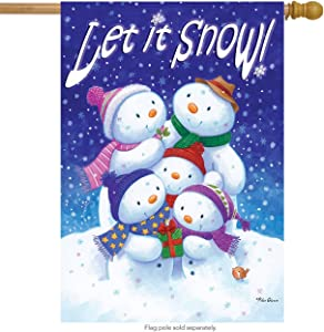 "Briarwood Lane Let it Snow Winter House Flag Snowman Family 28"" x 40"""