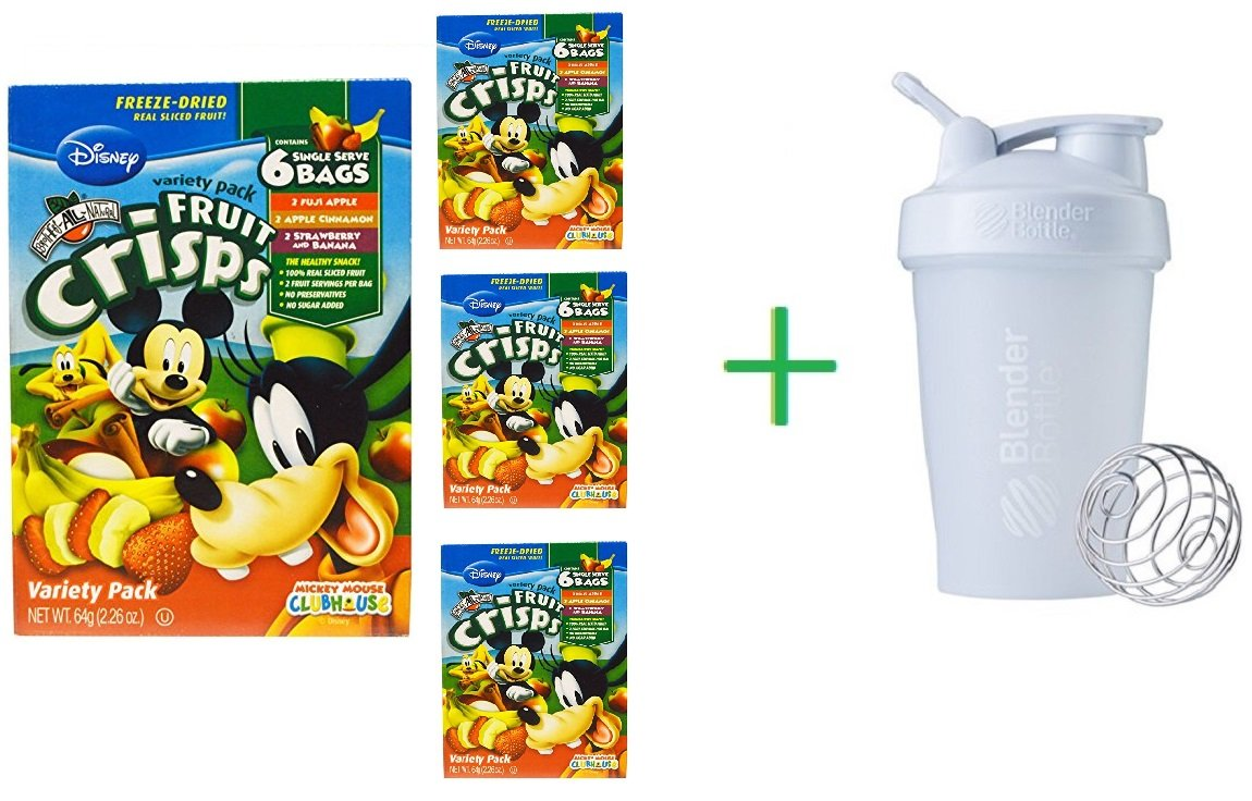 Brothers-All-Natural, Disney, Fruit-Crisps Variety Pack, 6 Single Serve Bags (4 Packs) + Sundesa, BlenderBottle, Classic With Loop, White, 20 oz