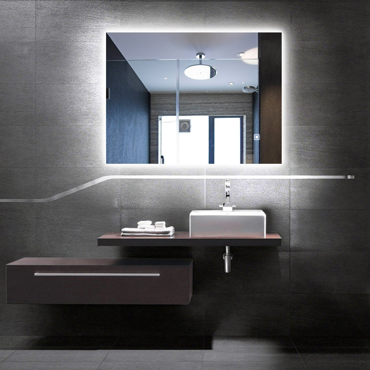 Illuminated Mirrors Bathroom: Alice Dimmable LED Backlit Mirror Illuminated Bathroom