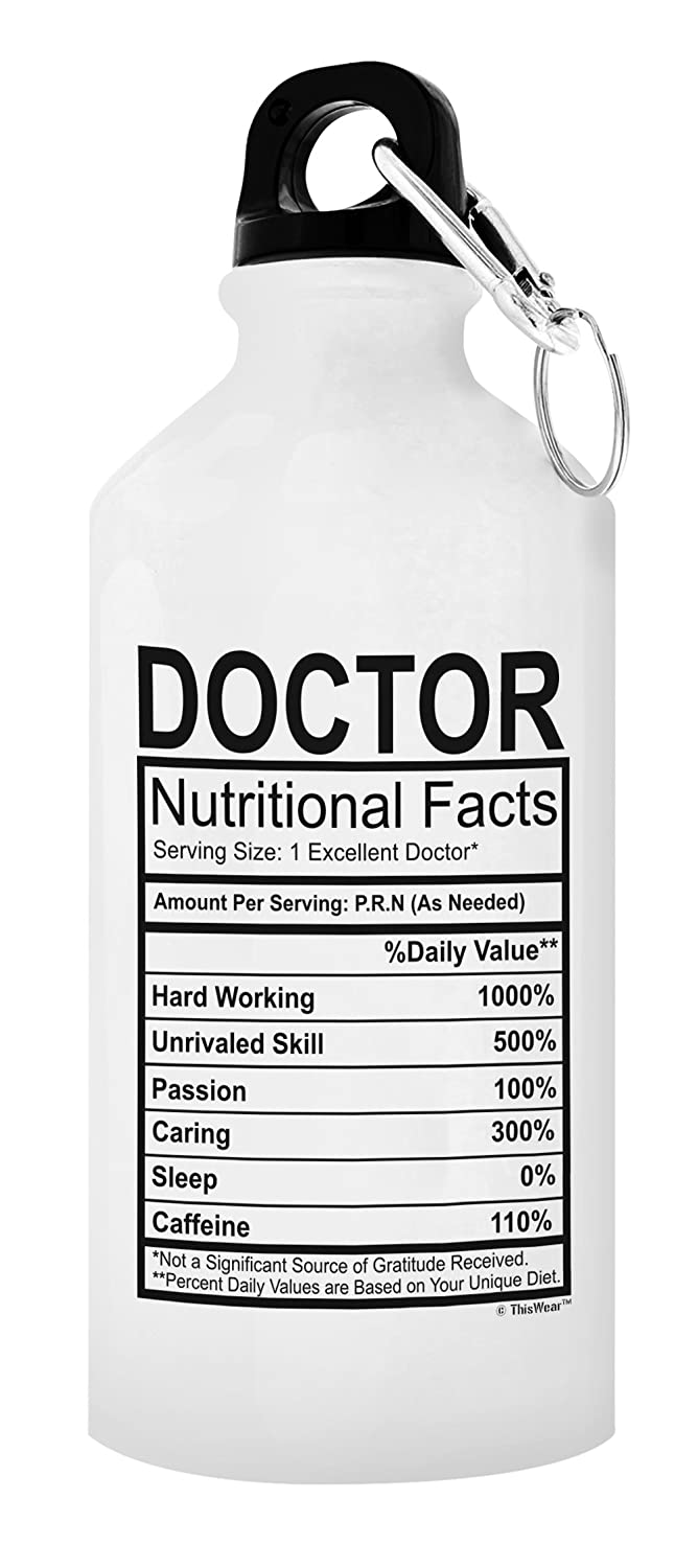 Doctor Nutritional Facts Gift Aluminum Water Bottle with Cap and Sport Top