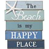 NIKKY HOME The Beach Is My Happy Place Wooden Wall Decorative Sign 7.87 x 0.63 x 11.87 Inches