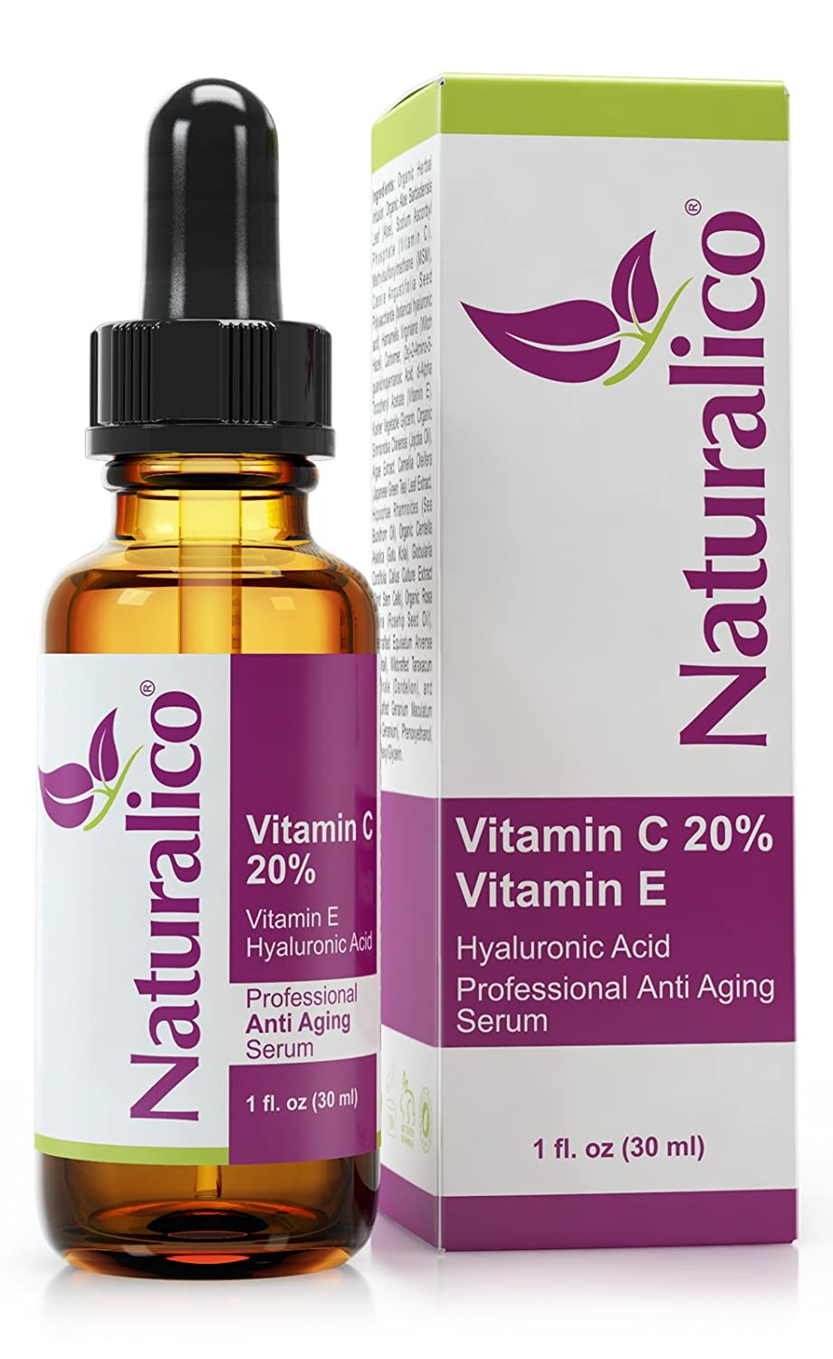 Naturalico Anti Aging Organic 20 Vitamin C Serum for Face with Hyaluronic Acid 1 Oz