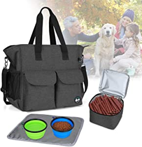 Teamoy Dog Travel Bag, Week Away Dog Supply Tote Bag, Included 2 Silicone Collapsible Bowls, 1 Food Carrier, 1 Water-Resistant Placemat