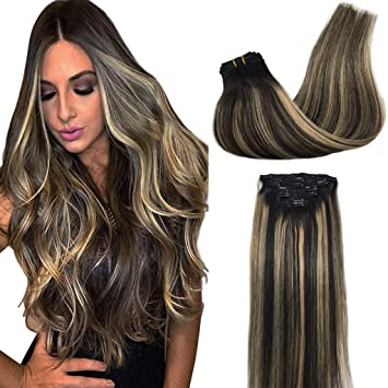 Amazon.com   Googoo Real Hair Extensions Clip in Ombre Hair Extensions  Natural Black to Dirty Ash Blonde Clip in Human Hair Extensions Double Weft  Silky ... c2d5fb7dd636