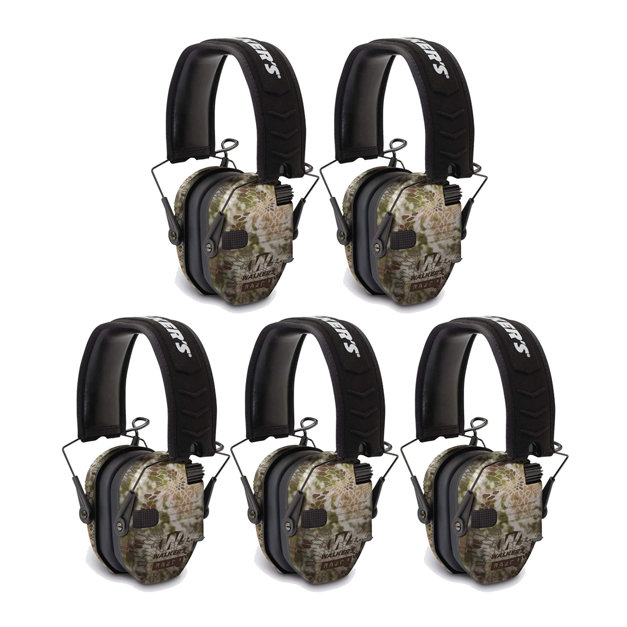 Walkers Razor Slim Electronic Shooting Ear Muff (Kryptek Camo) 5-Pack Bundle (5 Items) by Walker's Game Ear