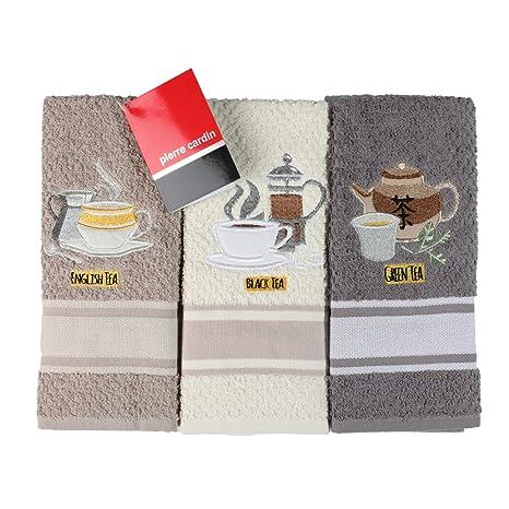 Pierre Cardin, Tea - Juego de 3 paños de cocina de rizo 70 x 50