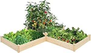 Crownland Outdoor Gardens 9ft Raised Garden Bed Wooden Garden Box, Patio Backyard Raised Beds for Planting Flowers Vegetables Fruits, Natural