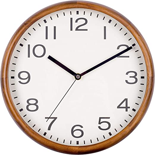 Country Rustic Style 8 Inch Small Wood Wall Clock Battery Operated Non Ticking Quartz Analogy Wall